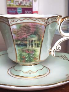 Thomas Kinkade Teacup & Saucer With Gold Teaspoon