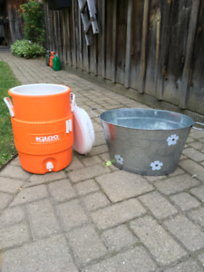 Igloo cooler and plant tub or cooler tub
