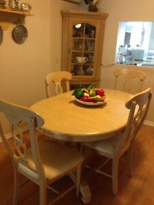 Bleached oak dinning table and 4 chairs