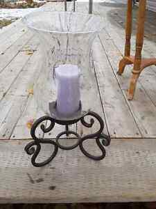 Large glass candle holder