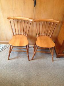 Pair of Maple turned spindle back kitchen chairs.