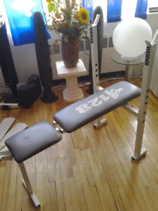 WEIDER 128 EXERCISE BENCH WITH BARBELL HOLDERS