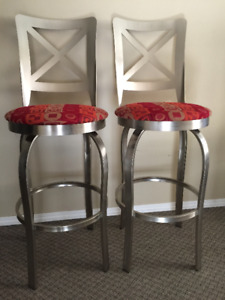 2 silver metal high chairs