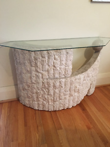 Real Stone Brick Marble and Glass Coliseum Style Entrance Table
