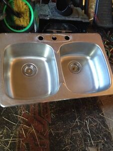 Lavabo double stainless steel