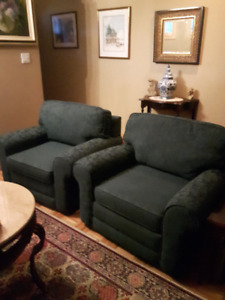 Two Comfy, Cosy, Forest Green Damask Armchairs Like New