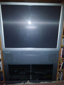 "43"" Rear projection crt tv with tv stand."
