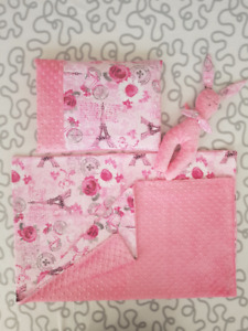 """Pink Paris"" Blanket/Pillow/Plushie Set"