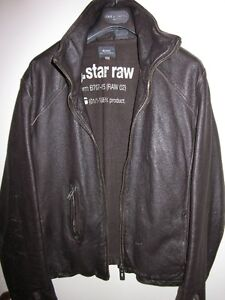 MENS G-STAR RAW DISTESS BROWN MOTO BIKER LEATHER JACKET SIZE M