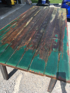 Custom built rustic industrial dining table