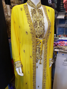 YELLOW KAFTAN,ABAYA,WEDDING DRESS,FORMAL,MOROCCAN CAFTAN,ISLAMIC