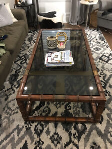 Antique mid century modern wooden coffee table