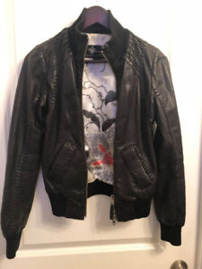 MACKAGE FOR ARITZIA BLACK LEATHER JACKET SIZE XS