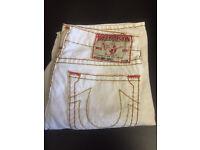 Men's True Religion Brand Jeans. Brand new. Bobby Super-T. White. Thick stitch. Waist 34