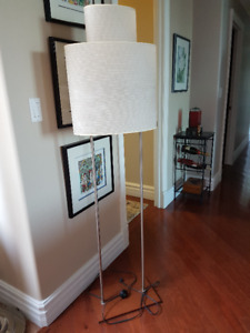 Beautiful wood and chrome double floor model lamp