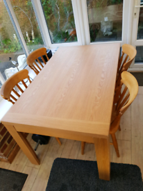 4 x Beechwood chairs, with Dining room table
