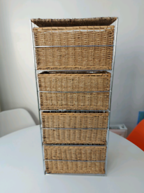 Wicker drawer unit