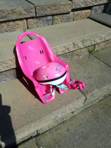 Doll bike carrier and helmet