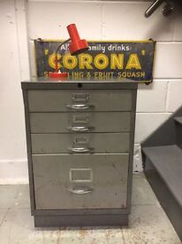 SMALL STEEL FILING CABINET GREY FOUR DRAWERS