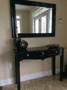 Modern glossy black console table( dresser) with mirror