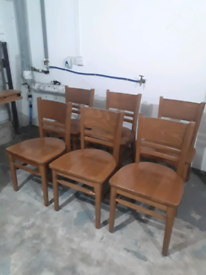 **REDUCED** Very sturdy and we'll built pine wood dining table chairs