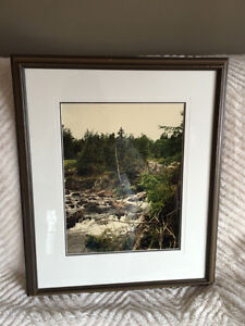 "Framed picture of running river 22"" x 18"""