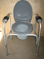 Commode, Adjustable, use bedside or fits over toilet. CLEAN!