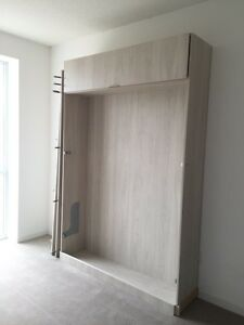 Murphy Bed with two shelving units with drawers
