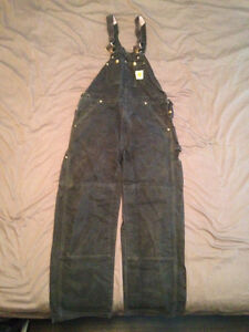 CARHARTT R01 FIRM DUCK BIB OVERALLS BLACK SIZE MENS 34X30