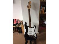 Fender replica guitar with amp