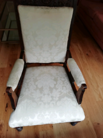 Antique armchair in cream Damask