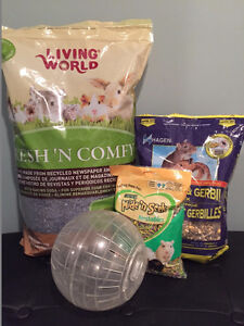 Hamster bedding, food and accessories