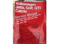 Bentley manual mk3 Golf Jetta Cabrio