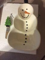 Cute little snowman dip dish with cheese or dip spreader