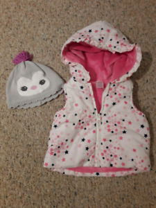 8 pieces: Toddler Girl Winter Vests, Jackets & Hats 12-24mths