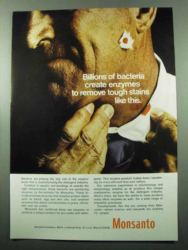 1969 Monsanto Company Ad - Bacteria Create Enzymes