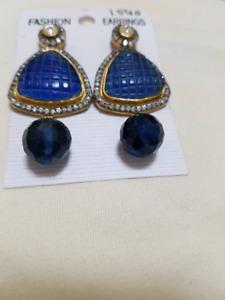 Bright blue earrings!
