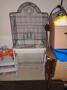 Large birdcage with stand and assessories