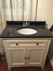 Bathroom Vanity with granite counter top sink and faucet