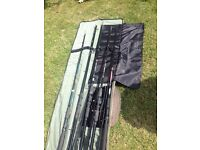 Fishing bundle rods reels barrow and waders