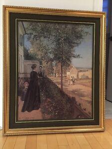 Transfert sur toile du peintre Pissaro et cadre antique