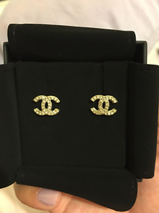 Authentic Chanel Cc Earrings Gold With Crystals