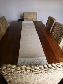 Mango wood table and banana leaf chairs