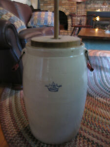 Small pottery antique churn