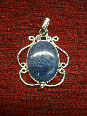 - STRIKING FANCY STERLING SILVER WITH LAPIS CENTER STONE PENDANT - N.W.O.T.