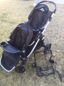 city select double stroller 2 seats, car seat adapters, 2 trays