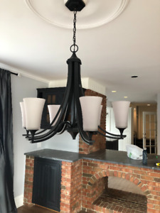 light fixtures - wall lights and iron chandelier