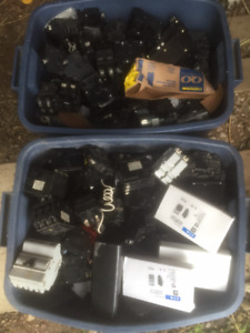 2 Bins of Mixed Electrical Breakers