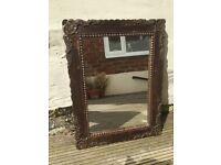 Rustic brown wooden mirror