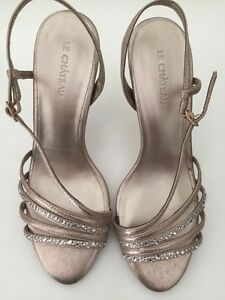 Champagne sparkly heels- NEW- size 7